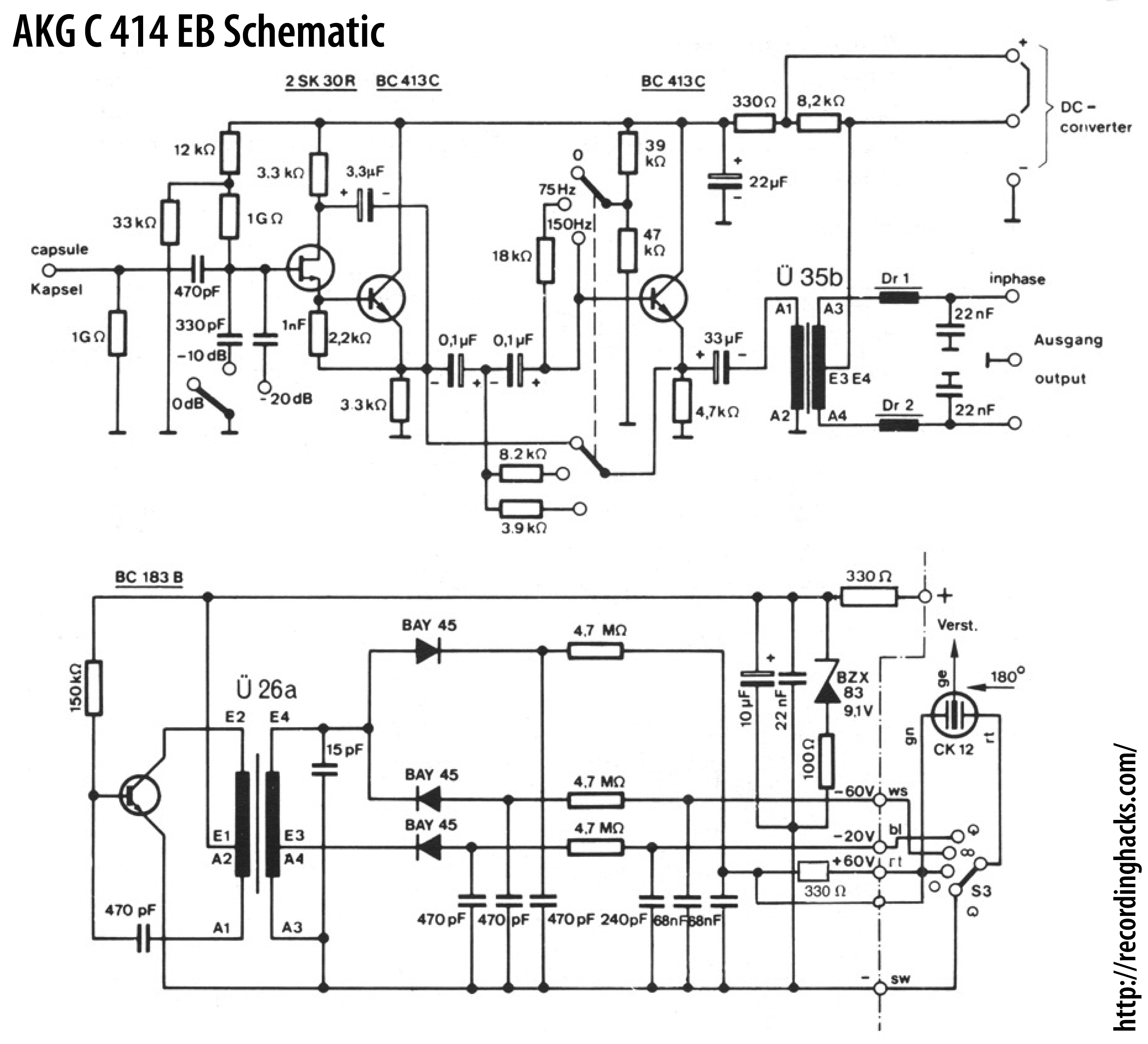 Condenser Mic Schematic Wiring Diagram Blog Circuit Further Symbols Additionally Series Akg Acoustics C 414 Eb Recordinghacks Com Symbol C414eb