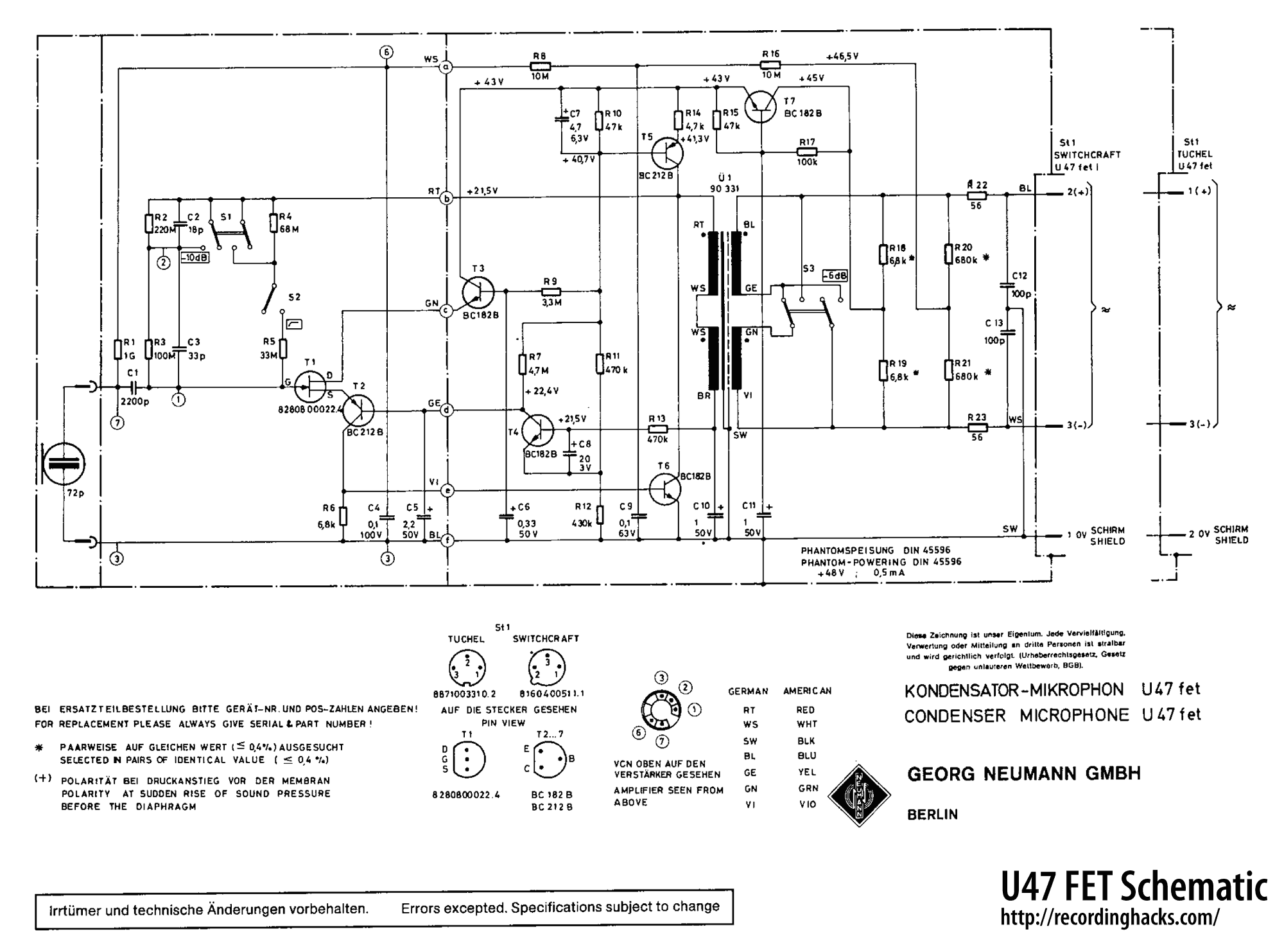 Microphone Parts Diagram Reinvent Your Wiring Turner Neumann U47 Fet Recordinghacks Com Rh Shure Microphones Schematic