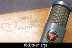 Naked Eye mic, monacle mount, embossed wooden case